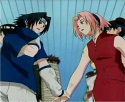Sasuke menghalangi Sakira yang akan berhenti