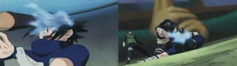 Yoroi menghisap chakra Sasuke dengan chakra kyuuin jutsu