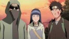 Shino, Hinata dan Kiba serta Akamaru