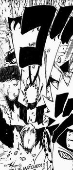 Naruto melumpuhkan Pain Jigokudou dengan sennin rasengan ganda