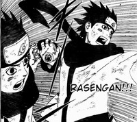 Konohamaru melakukan Rasengan