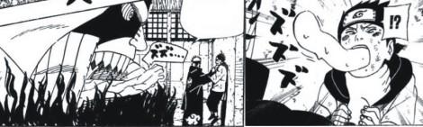 Pain Jigokudou dengan Enma dibelakangnya menangkap Konohamaru. konohamaru mulai mengeluarkan sesuatu dari mulutnya.