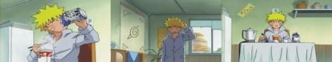 Naruto bangun, makan mie dan minum susu