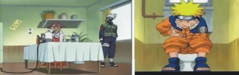 kakashi meramalkan naruto akan sakit perut karena susunya kadaluarsa. ditempat lain naruto sedang sakit perut