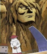 Sandaime Hokage sedang memandang patung wajah Yondaime Hokage