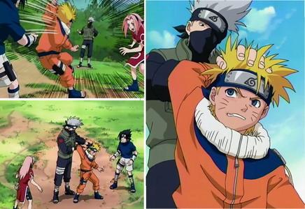 Naruto menyerang Lalashi namun tiba-tiba kakashi sudah ada dibelakangnya