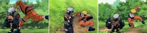 Naruto menyerang namun Kakashi menghindar dengan mudah