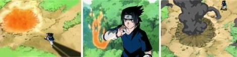 Sasuke menyerang dengan goukakyu no jutsu