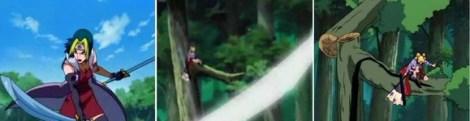 Kyaku akan memotong Temari dengan pisau angin