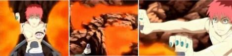 Sasori menyerang dengan jutsu api
