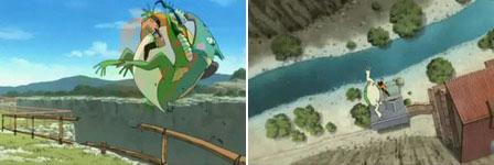 Gamariki dan Naruto bergulingan dan jatuh kejurang