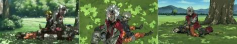 Naruto dan Jiraiya di bawah pohon rindang