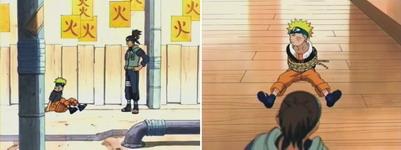 Naruto tertangkap oleh Iruka dan dibawa ke kelas