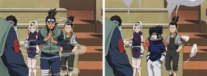 Sasuke melakukan henge no jutsu