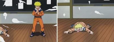 Naruto melakukan bunshin