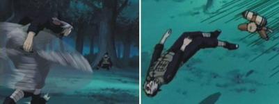 Mizuki menyerang Iruka namun Naruto menggagalkan serangan