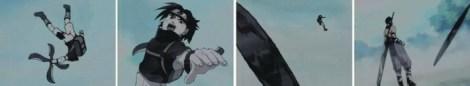 Sasuke menyerang dengan kage shuriken
