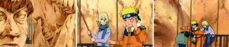 naruto dan menma membersihkan patung wajah hokage lalu seorang shinobi jatuh terluka