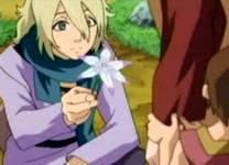 Menma memberikan bunga