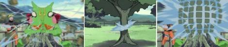 Gamariki menembakkan air ke pohon dan bagian pohon yang terkena serangan hancur menjadi balok-balok