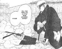 Pain Tendou menusuk tangan Naruto