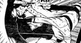 Naruto menendang Pain Tendou