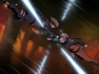 Kakashi dan Naruto beradu kunai
