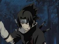 Sasuke penuh luka kunai