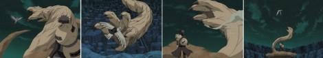 Deidara menghindari tangan Ichibi