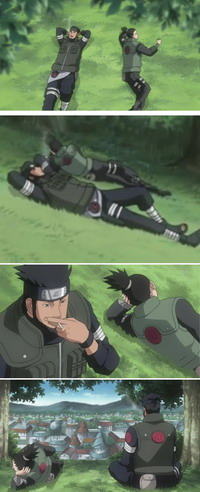 Asuma dan Shikamaru tiduran di rumput