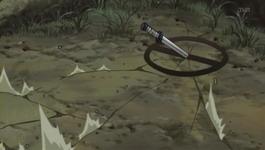 Shikamaru melempar pisau ke tanah dengan tanda
