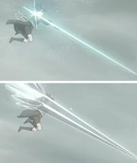 Guren menyerang dengan tombak kristal