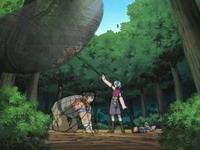 Monju menyerang Naruto dengan kawat