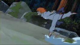 Shizuku meluncur di tanah