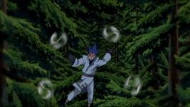 Setsuna menyerang dengan fuuton shuriken